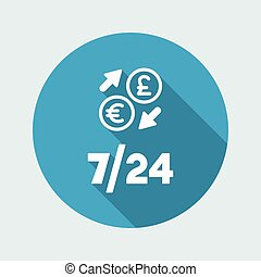 Foreign currency exchange 7/24 - Euro - sterling - Vector web icon