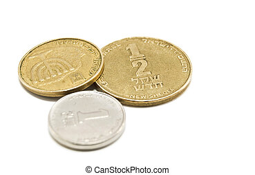 israeli coins on white background