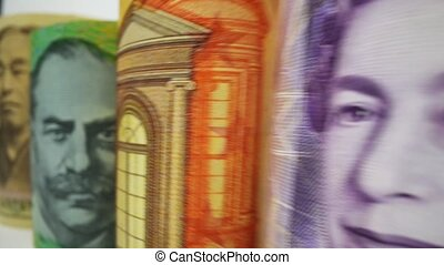 Macro dolly shot of international money include US American Dollar, Euro Currency, British UK Pound, Australian Dollar, China Yuan and Japan Yen. Foreign currency money exchange and Forex concept.