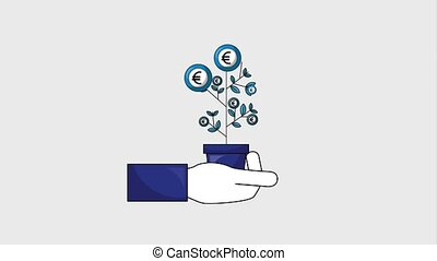 hand holding potted plant euro coins business animation hd