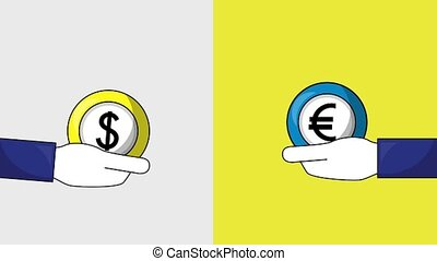 foreign exchange business - hands with dollar and euro coins...