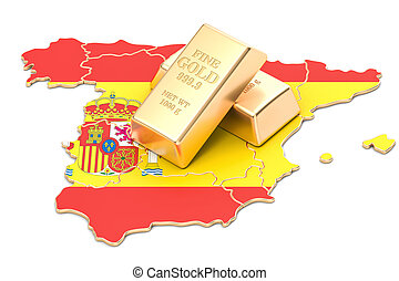 Foreign-exchange reserves of Spain concept, 3D rendering