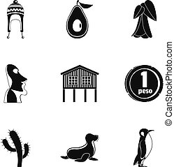 Foreign land icons set, simple style - Foreign land icons...