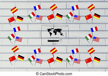 studying foreign languages conceptual illustration: mixed country flags border with Go Study Abroad pop-up message in the centre