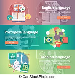 """Foreign languages learning banner set. Design illustration for British English, Portuguese and Arabian language. Colorful vector flat concepts horizontal layout. """"Allah"""" in Arabian."""