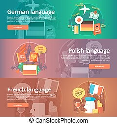 Foreign languages learning banner set. Design illustration for German, Polish and French language. Colorful vector flat concepts horizontal layout.