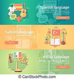 Foreign languages learning banner set. Design illustration for Spanish, Turkish and Italian language. Colorful vector flat concepts horizontal layout.