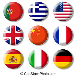Foreign languages, symbols - Colored buttons, a symbol of ...