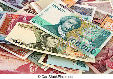 Foreign Paper Money with Different Colors and Sizes