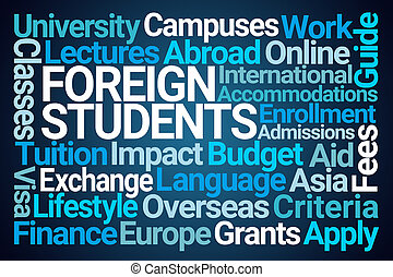 Foreign Students Word Cloud on Blue Background
