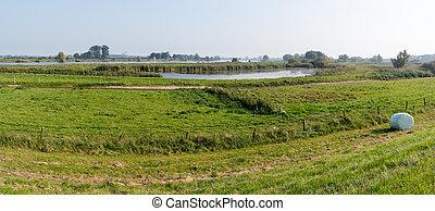 Forelands of River IJssel, Netherlands - Panorama of IJssel...