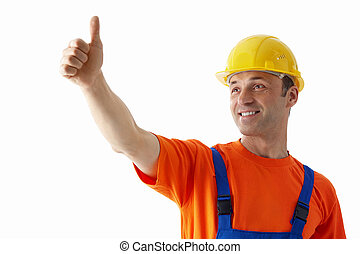 Foreman - Builder in helmets on a white background