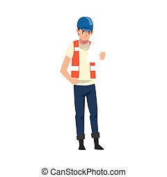 Foreman Holding and Looking at Blueprint, Male Builder Character Wearing Uniform and Protective Helmet Building House Cartoon Vector Illustration