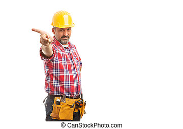 Construction foreman holding index finger as get out the door gesture with angry expression isolated on white