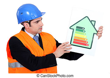 Foreman holding panel of energy consumption ranking