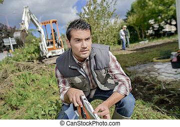Foreman in a garden