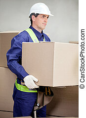 Foreman Lifting Cardboard Box At Warehouse - Portrait of...