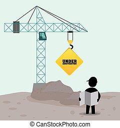 foreman worker construction concrete blueprint crane sign