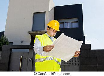foreman worker in stress supervising building blueprints outdoors wearing construction helmet