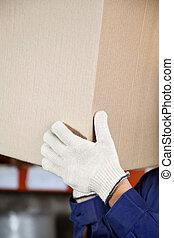 foreman's, kézbesít, emelés, kartonpapír ökölvívás