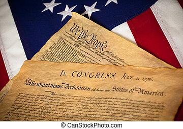 forenede fastslår forfatning, og, declaratin, i, uafhængighed, på, flag