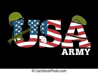 forenede stater, army., militær, udrustning, i, america., logo, by, amerikaner, army., amrik, flag., automatisk, og, rifle., soldater, beret., militær, beskyttende, helmet., patron, bælte, og, soldater, badge., flag usa., på, mørk baggrund