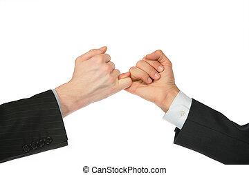 forenet, hænder, fingre, to