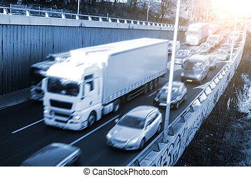forens, verkeer, op, snelweg