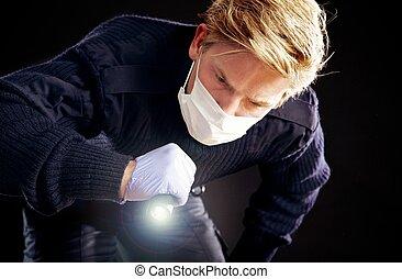 forense, buscando, experto, evidencia