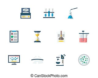 Forensic examination flat color vector icons set - Set of...
