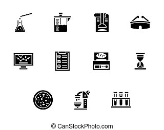 Forensic laboratory glyph style vector icons set - Abstract...