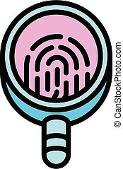 Forensic laboratory magnifier icon, outline style - Forensic...