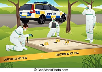 Forensic Working on a Crime Scene - A vector illustration of...