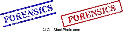 Grunge FORENSICS rubber stamps in red and blue colors. Stamps have rubber texture. Vector rubber imitations with FORENSICS tag inside rectangle frame, or parallel lines.