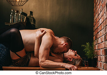 foreplay, par, desfrutando, apaixonado