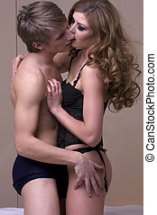 foreplay, pendant, couple, jeune, intime