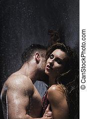 foreplay, pendant, salle bains, coupler embrasser