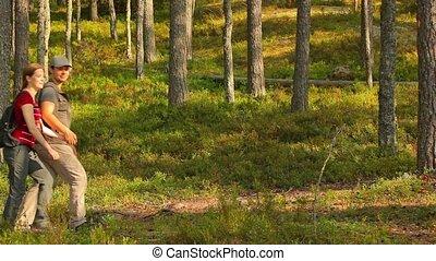 forest., пара, молодой, туристы