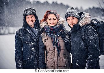 forest., 会社, 雪, 味方, 旅行