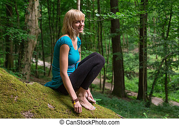 forest., 練習する, 女, ヨガ, 若い