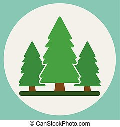 forest., 자연, 배경, 와, 녹색의 나무