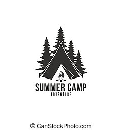 Forest Adventure, Summer Camp Black And White Badge Vector Logo