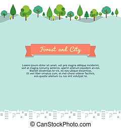 Forest And City Vector Background.