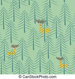 Forest and deer seamless pattern. Trees and elk cartoon style background. Texture of fabrics for children