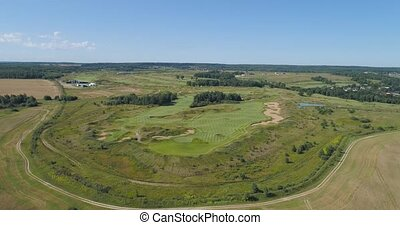 forest and golf course - Aerial view Golf course with green...