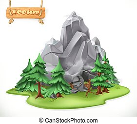 Forest and mountain. Camping 3d vector icon