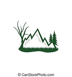 Forest and mountain grapic design template logo desgin