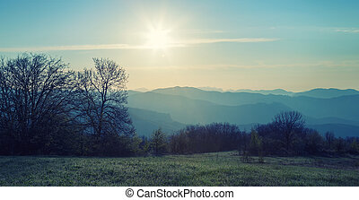 Forest and mountain ridges at dawn in the sun