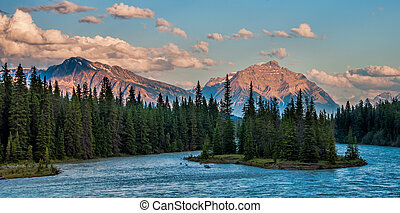 Forest and Mountains Behind the Athabasca River - Photo of...