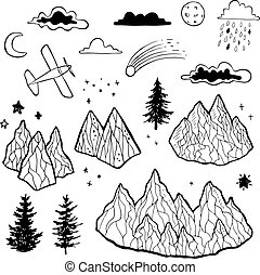 Forest and mountains sketch. Hand drawn vector background.